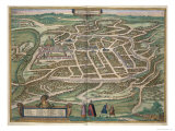 Map of Vilnius, Lithuania, from Civitates Orbis Terrarum by Georg Braun, Giclee Print
