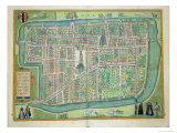 Map of Delft, from Civitates Orbis Terrarum by Georg Braun Giclee Print by Joris Hoefnagel