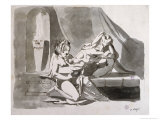 Erotic Scene of a Man with Two Women, c.1770-78 Giclee Print by Johann Heinrich Fussli