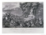 The Fountain of Regeneration over the Ruins of the Bastille, Engraved by Helman Giclee Print by Charles Monnet