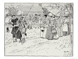 The Arrival of the Young Women at Jamestown, 1621, from Harper's Magazine, 1883 Giclee Print by Howard Pyle