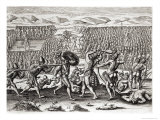 Outina Defeats Patanou with Aid of French, Florida, 1564, Brevis NarratioEngraved Theodore de Bry Giclee Print by Jacques Le Moyne