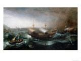 Dutch Merchant Vessels and a Smalschip Accompanied by Dolphins in Heavy Seas Giclee Print by Aert Van Antum