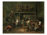 The Interior of a Tavern with a Couple Dancing to the Music of a Fiddler Giclee Print by Jan Havicksz. Steen