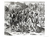 Spaniards Receiving Gifts from Indians, from 'History', 1598, Engraved by Theodor de Bry Giclee Print by Jacques Le Moyne