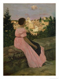 The Pink Dress, or View of Castelnau-Le-Lez, Herault, 1864 Giclee Print by Jean Frederic Bazille