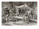 First Day at Jamestown, 1607, The Romance and Tragedy of Pioneer Life Mason, 1883 Giclee Print by William Ludlow Sheppard