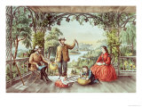Home from the Brook, the Lucky Fishermen Giclee Print by Currier & Ives