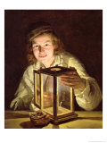 The Young Stableboy with a Stable Lamp, 1824 Giclee Print by Ferdinand Georg Waldmuller