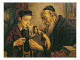 Rabbi Tying the Phylacteries to the Arm of a Boy Giclee Print
