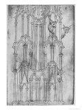 Elevation of the Tower of Laon Cathedral Giclée-Druck von Villard de Honnecourt
