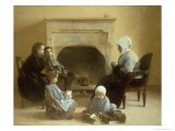 Family Seated Around a Hearth Giclee Print by Jules Jean Geoffroy