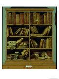 Trompe L'Oeil of a Bookcase, 1710-20 Giclée-tryk af Giuseppe Maria Crespi