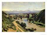 Narni, the Bridge of Augustus over the Nera Giclee Print by Jean-Baptiste-Camille Corot