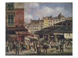 View of the Market at Les Halles, c. 1828 Giclee Print by Guiseppe Canella