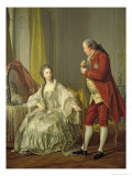 Portrait of the Marquis de Marigny and His Wife, Marie-Francoise Constance Julie Filleul, 1769 Giclee Print by Louis-Michel van Loo