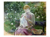 Pasie Sewing in Bougival's Garden, 1881 Giclee Print by Berthe Morisot