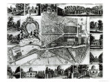 Plan of the Garden and View of the Houses at Chiswick on the Thames Giclee Print by John Rocque