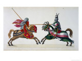 Two Knights at a Tournament, a History of the Development and Customs of Chivalry, c.1842 Giclee Print by Friedrich Martin Von Reibisch