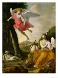 Hagar and Ishmael Rescued by the Angel, c.1648 Giclee Print by Eustache Le Sueur