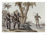 Freed Slaves Hunting Down Escaped Slaves in Surinam, Guiana, Le Costume Ancien et Moderne c.1820 Giclee Print by G. Bramati
