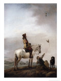 Gentleman on a Horse Watching a Falconer Giclee Print by Philips Wouwermans Or Wouwerman
