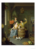 Interior with a Couple Celebrating Giclee Print by Frans Van Mieris