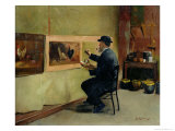 Charles Philippe Gevens, Father-In-Law of the Artist, Painting in His Studio 21, Avenue D'Eylau Giclee Print by Jules Ernest Renoux