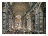 Interior of St. Peter's, Rome, 1867 Giclee Print by Louis Haghe