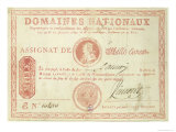 Thousand Livre Banknote with a Picture of Louis XVI Giclee Print