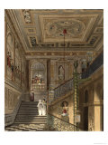 The Great Staircase at Kensington Palace from Pyne's Royal Residences, Engraved by Richard Reeve Giclee Print by Charles Wild