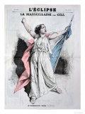 Mlle Agar Singing the Marseillaise, from the Front Cover of LEclipse, 28th August, 1870 Giclee Print by André Gill