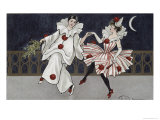 Postcard Depicting Pierrot and His Companion, c.1900 Giclee Print by Florence Hardy