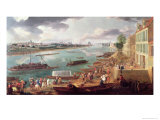 View of Paris from the Quai de La Rapee Giclee Print by Pierre-Denis Martin