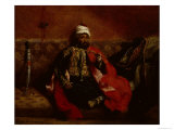 Turk Smoking Sitting on a Sofa, c.1825 Giclee Print by Eugene Delacroix