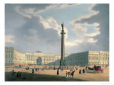 The Alexander Column and the Army Headquarters in St. Petersburg, Printed Lemercier, Paris, c.1840 Giclee Print by Louis Jules Arnout