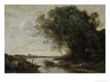 River Landscape Giclee Print by Jean-Baptiste-Camille Corot