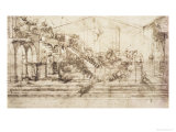Perspective Study For the Background of the Adoration of the Magi Giclée-Druck von  Leonardo da Vinci