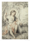 The Young John the Baptist with the Lamb in a Rocky Landscape Giclee Print by Bartolome Esteban Murillo