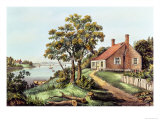 The Birthplace of Washington at Bridges Creek Lmina gicle por Currier & Ives