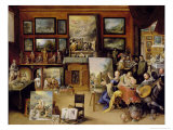 Pictura, Poesis and Musica in a Pronkkamer Giclee Print by Frans Francken the Younger