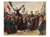 Italian Volunteers Arriving in Marseilles to Enrol in the French Army on 4th August 1914 Giclee Print by Leon Giran-max