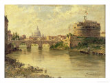 Castel Sant'Angelo and St. Peter's from the Tiber Giclee Print by Antonietta Brandeis