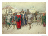 Joining of Great Novgorod, Novgorodians Departing to Moscow, 1880 Giclee Print by Aleksei Danilovich Kivshenko