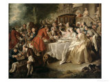 The Hunt Lunch, Detail of the Diners, 1737 Giclee Print by Jean Francois de Troy