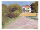 Landscape, the House with the Red Roof, 1924 Gicl&#233;e-Druck von Felix Vallotton