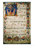 Graduale No.5 Historiated Initial A Depicting King David and God the Father Giclee Print by Rossello Franchi