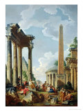 Architectural Capriccio with a Preacher in the Ruins, c.1745 Impression giclée par Giovanni Paolo Pannini