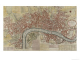 New and Exact Plan of the Cities of London and Westminster and the Borough of Southwark, 1725 Giclee Print