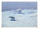 Polar Bear Hunting in Moonlit Night, 1899 Giclee Print by Aleksandr Alekseevich Borisov